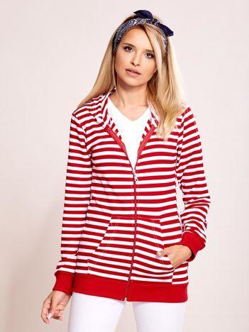 Biało-czerwona rozpinana bluza w paski z kapturem