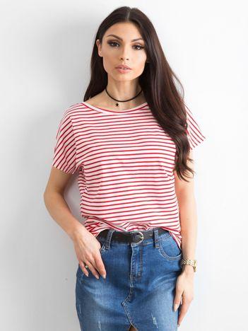 Biało-czerwony t-shirt Morning