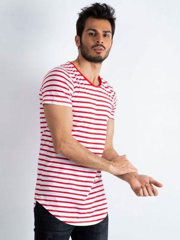 Biało-czerwony t-shirt męski Motivated