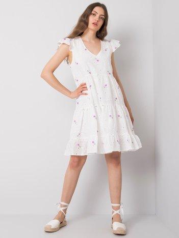 Biało-fioletowa sukienka na co dzień Miranda
