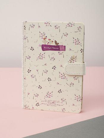 Biało-fioletowy notes w kwiatki