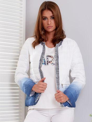 Biało-granatowa pikowana kurtka ombre z ozdobnym wykończeniem