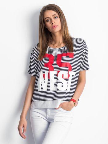 Biało-granatowy t-shirt Repeating
