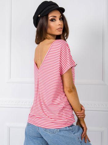 Biało-koralowy t-shirt Gina RUE PARIS