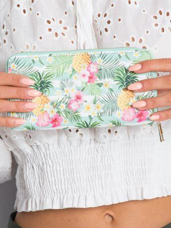Biało-miętowy portfel z printem