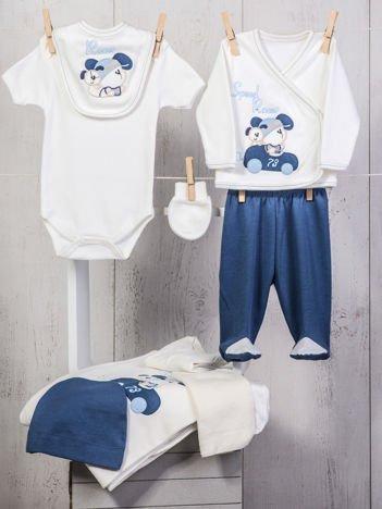 Biało-niebieski 10-elemenentowy 100% bawełniany zestaw startowy dla noworodka z wesołymi zwierzątkami
