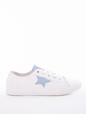 Biało-niebieskie ażurowe tenisówki BIG STAR z gwiazdkami