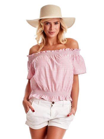 Biało-różowa bluzka hiszpanka z nadrukiem pasków