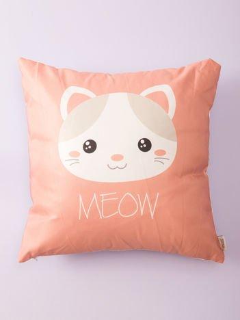Biało-różowa poduszka z nadrukiem