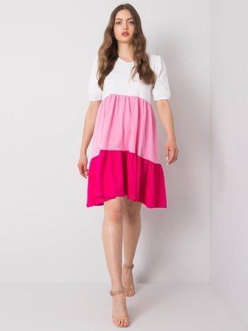Biało-różowa sukienka na co dzień Kylie RUE PARIS