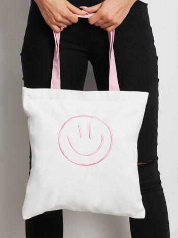 Biało-różowa torba materiałowa