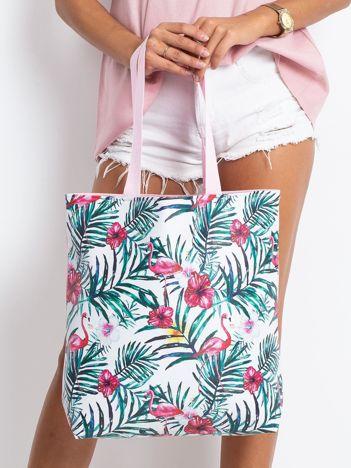 Biało-różowa torba z nadrukiem
