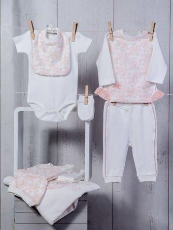 Biało-różowy 10-elementowy 100% bawełniany dziewczęcy zestaw startowy wyprawka dla noworodka z falbanką i haftami