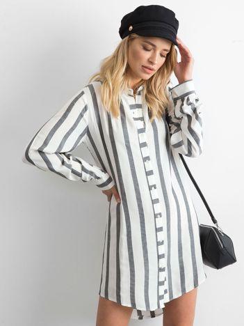 Biało-szara sukienka w paski