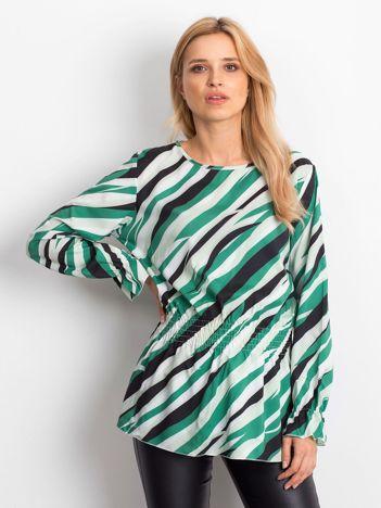 Biało-zielona bluzka w kolorowe desenie