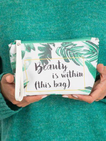 Biało-zielona kosmetyczka z napisem