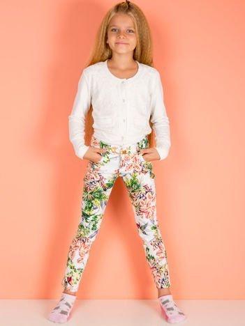 Biało-zielone spodnie dla dziewczynki z nadrukiem