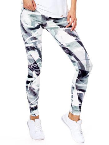 Biało-zielone wzorzyste legginsy