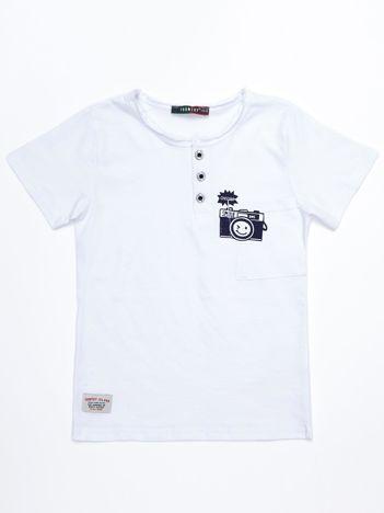 Biały bawełniany t-shirt dziecięcy z nadrukiem aparatu