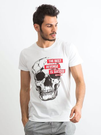 Biały bawełniany t-shirt męski z printem