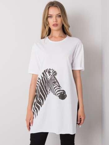 Biały długi t-shirt Zebra