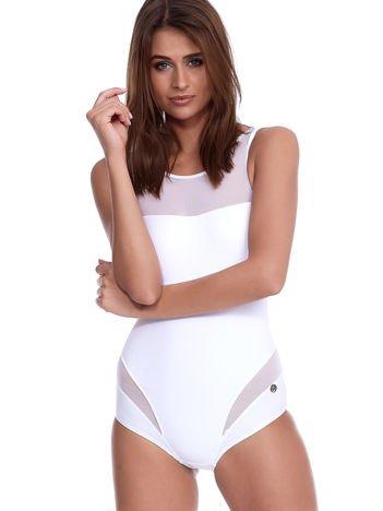 Biały jednoczęściowy kostium kąpielowy