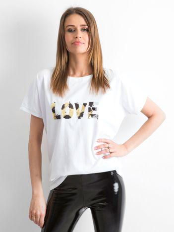 Biały luźny t-shirt Lovers