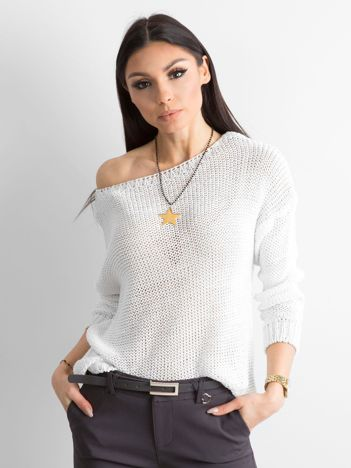 Biały sweter z metaliczną nicią