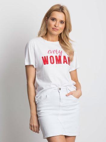 Bialy t-shirt EVERY WOMAN