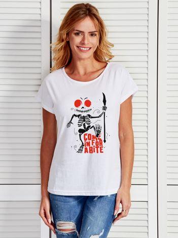 Biały t-shirt Halloween z nadrukiem