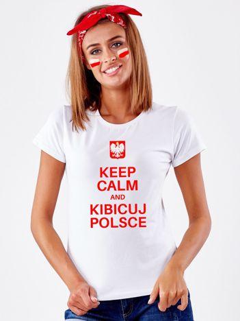 Biały t-shirt KEEP CALM AND KIBICUJ POLSCE