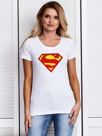 Biały t-shirt SUPERMAN logo