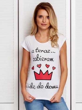 Biały t-shirt ZABIERAM KORONĘ