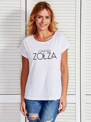 Biały t-shirt damski Z ZAWODU ZOŁZA