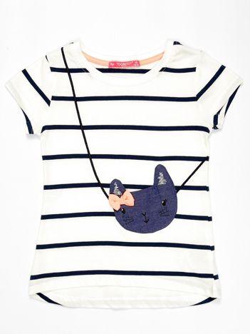 Biały t-shirt dla dziewczynki w ciemnoniebieskie paski z kotem