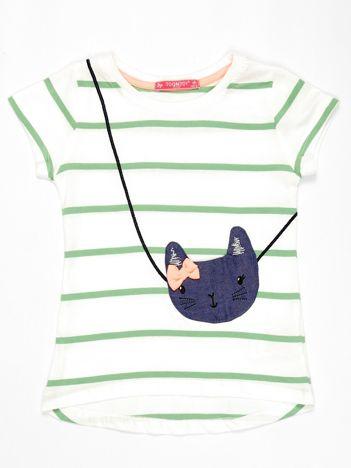 Biały t-shirt dla dziewczynki w zielone paski z kotem