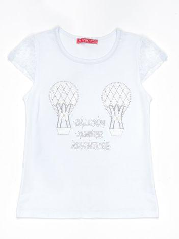 Biały t-shirt dla dziewczynki z aplikacją z dżetów
