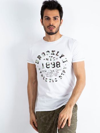 Biały t-shirt męski College