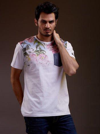 Biały t-shirt męski w kwiaty FUNK N SOUL