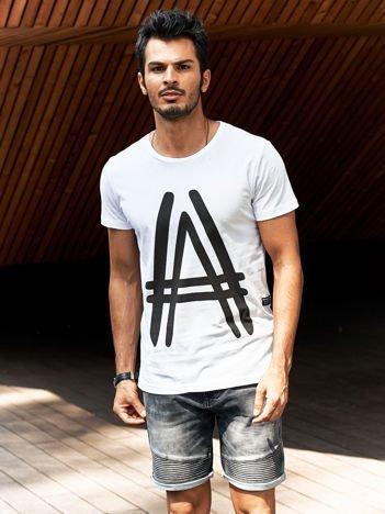 Biały t-shirt męski z graficznym znakiem