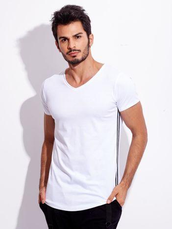Biały t-shirt męski z lampasami