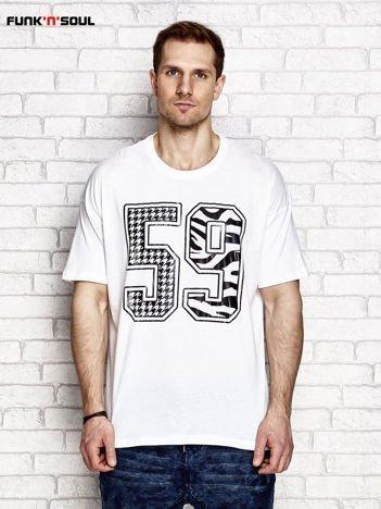 Biały t-shirt męski z liczbą 59 FUNK N SOUL
