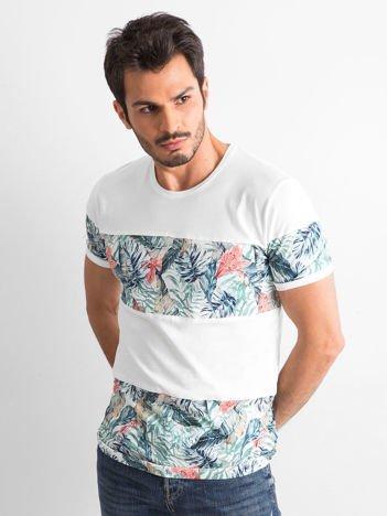 Biały t-shirt męski z motywem roślinnym