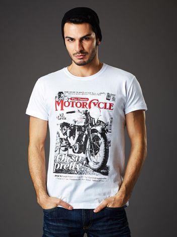Biały t-shirt męski z nadrukiem motocykla