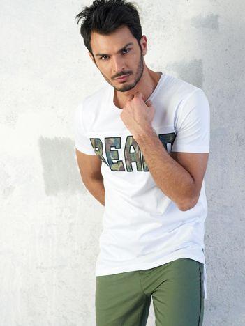 Biały t-shirt męski z napisem moro