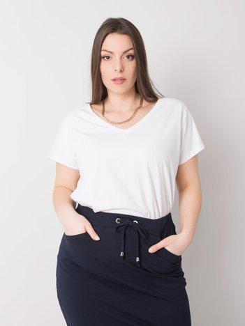 Biały t-shirt w serek plus size Cassie