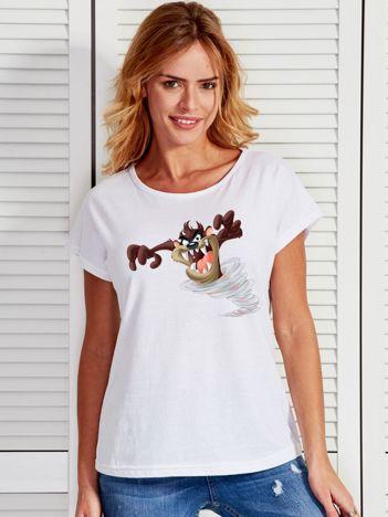Biały t-shirt z Diabłem Tasmańskim