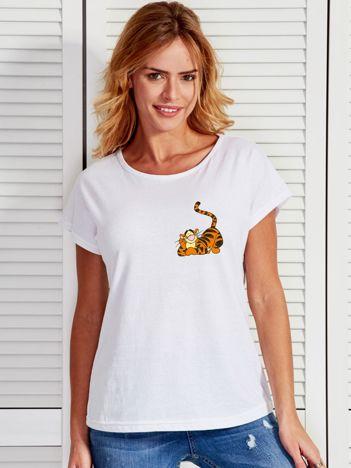 Biały t-shirt z Tygryskiem KUBUŚ PUCHATEK