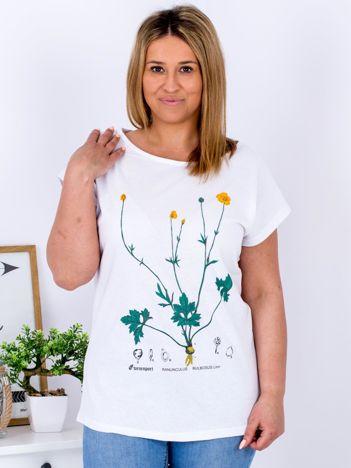 Biały t-shirt z jaskrami PLUS SIZE