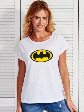 Biały t-shirt z nadrukiem BATMAN